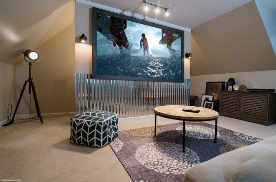 I need a motorized screen for a short-throw projector