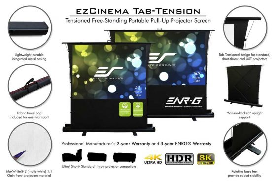 Elite Has 2-New ISF & Greenguard-Certified Portable Projection Screens