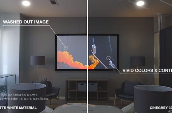 Elite Screens CineGrey 3D® -vs- White Screen Comparison