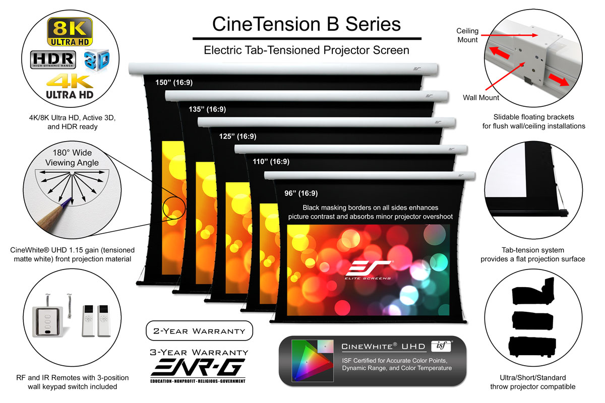 Elite's CineTension B Tab-Tensioned Electric Projector Screen