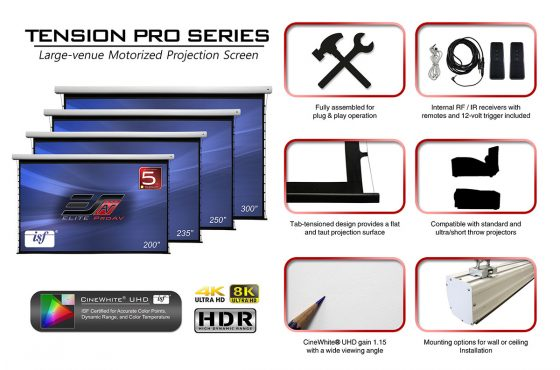 Tab-Tensioned Electric Projector Screen Brings Added Refinement to Large Venue Presentations