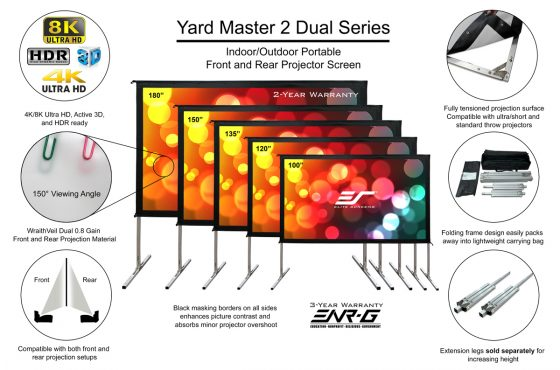 """Which Yard Master 2 Material is Front Projection and Which Material is Rear Projection? Is there a """"Dual"""" model?"""