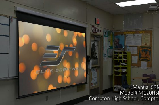 Elite Screens Demonstrates its Manual SRM Pro (M120HSR-Pro) Slow-Retracting Non-Electric Projector Screen