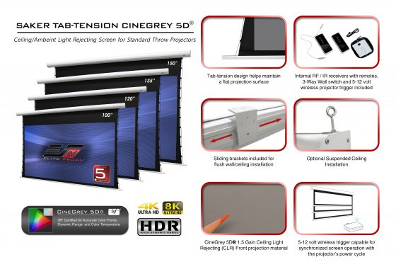 The Saker Tab-Tension CineGrey 5D® (aka CLR®-S) Electric Screen will be shown at InfoComm 2019