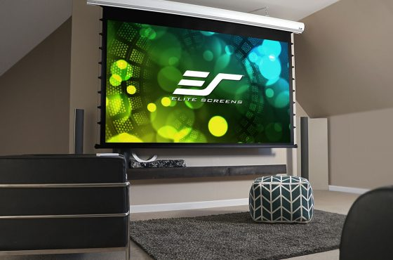 "Elite Screens Starling Tab-Tension2 (STT150WH2-E6) 150"" 16:9 Electric Projection Screen is Featured at the Skyline Penthouse Loft – Los Angeles"