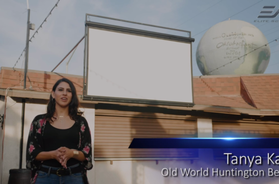 Case Study : Old World Village in Huntington Beach uses Elite Screen's Yard Master Series of Outdoor Projection Screens